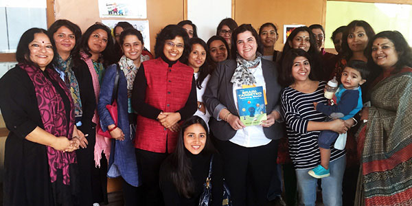 Jimmie Walker with the staff of Intellitots in Gurgaon, India.