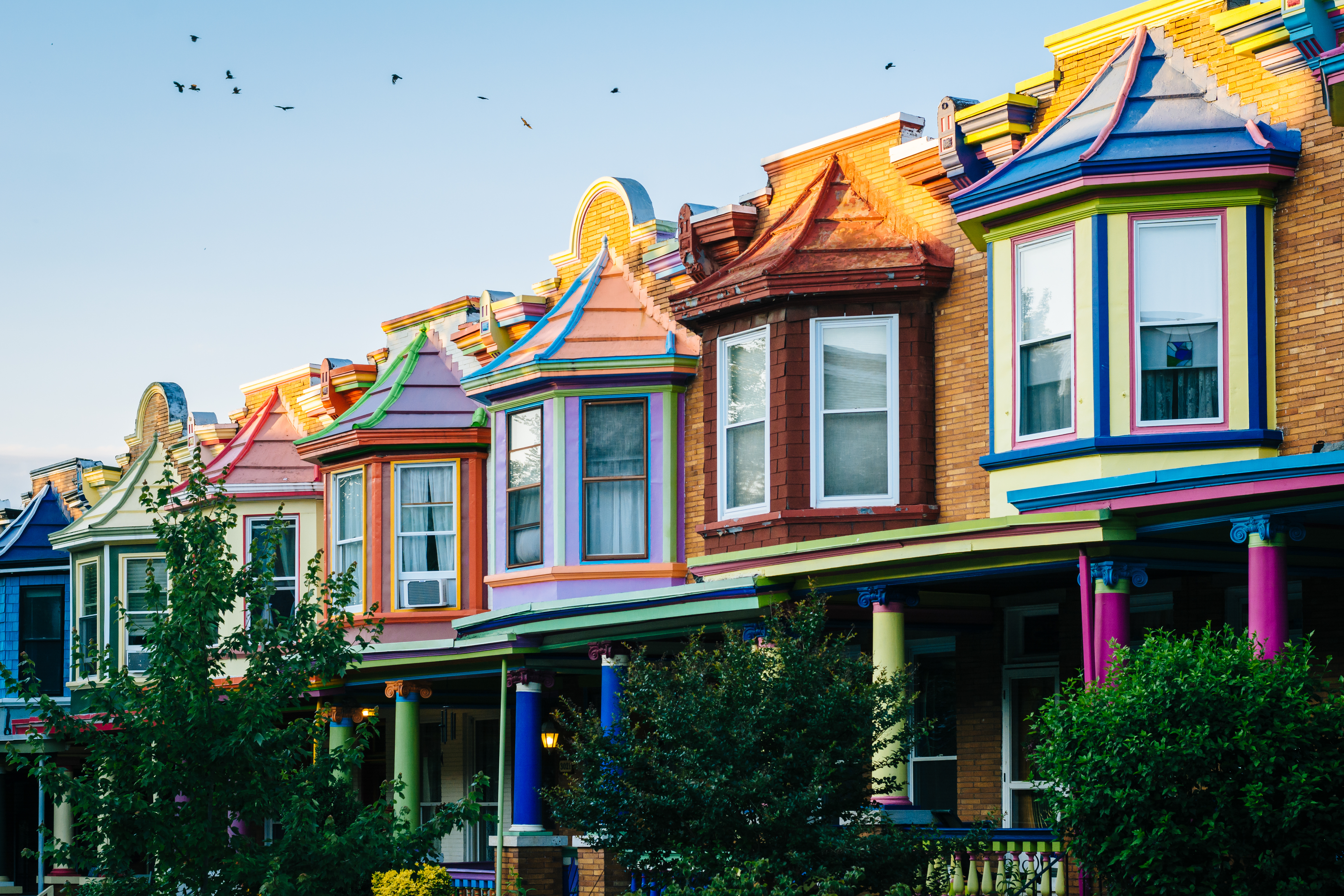 Colorful Row Homes in Baltimore's Charles Village