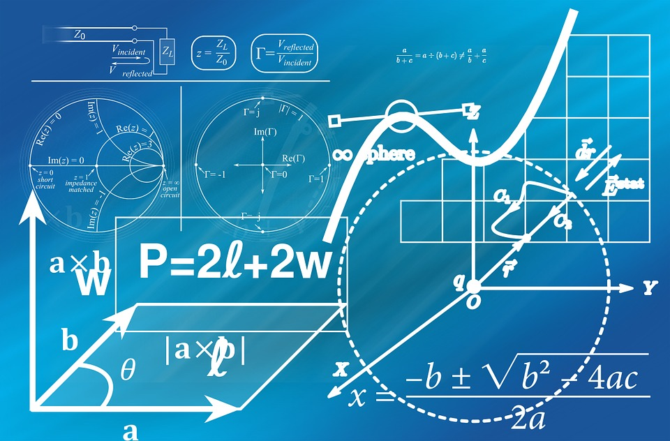 Mathematics equations on blue background