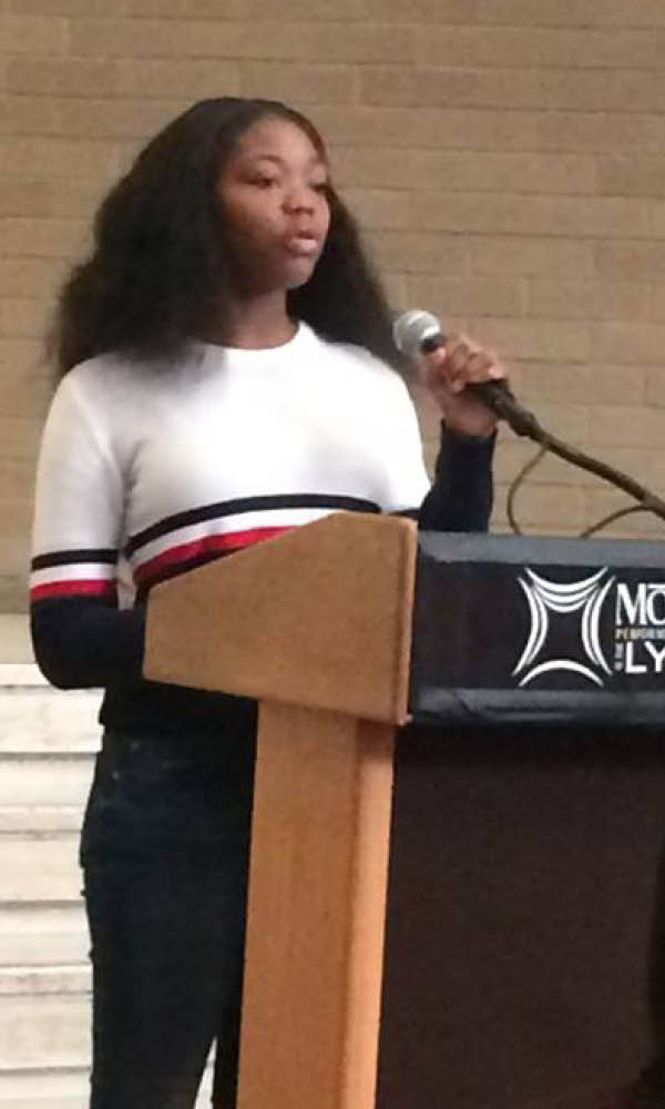 Dannell Eggleston giving a speech