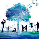 Silhouetted figures playing around blue water-colored tree