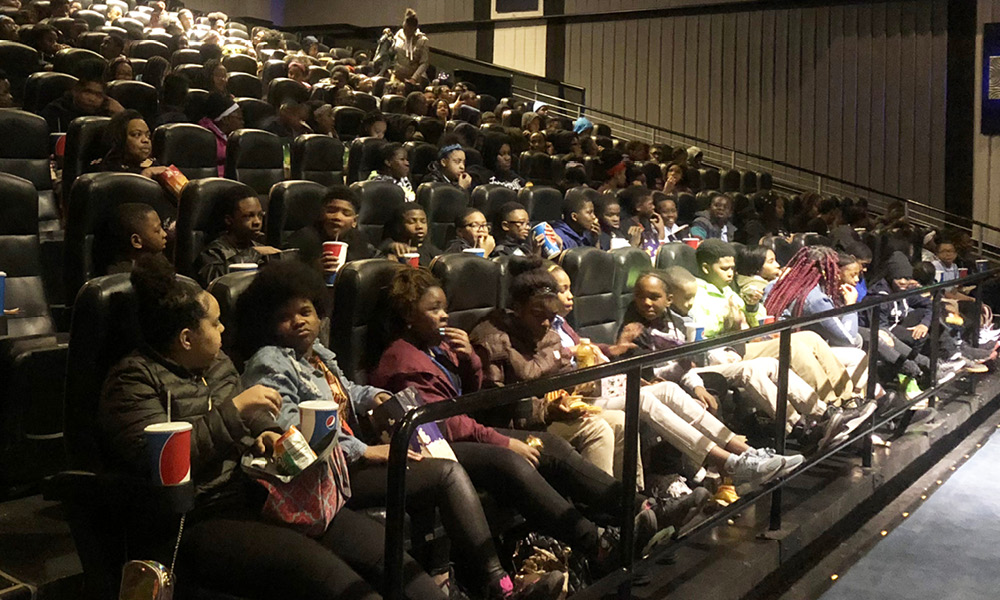 Students at the movies