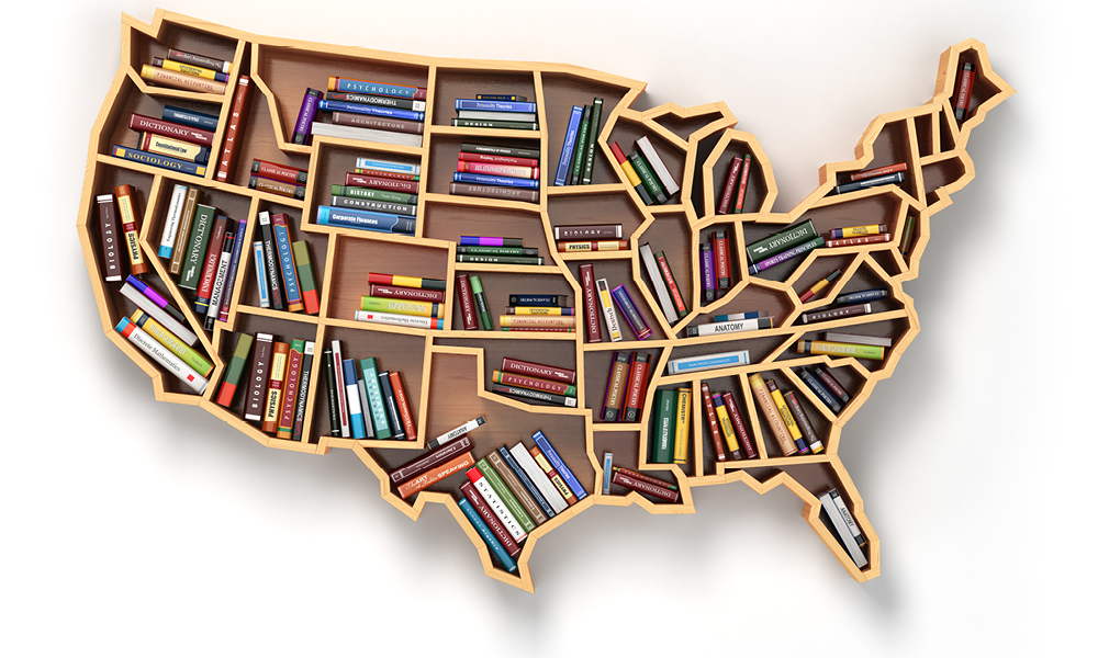 A bookshelf in the shape of the United States