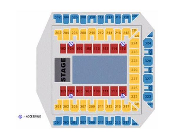 A map of accessible seating in Royal Farms Arena