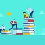 Vector illustration - people climbing books