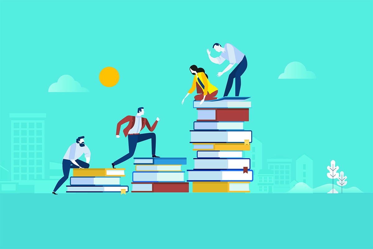 Vector illustration - people climbing books
