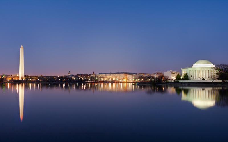 Washington, DC, National Mall Skyline on the evening
