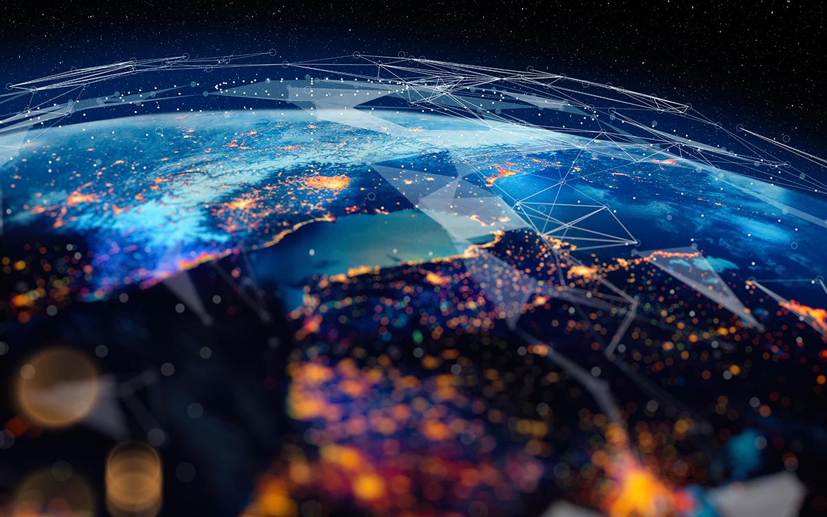 Global world network on earth