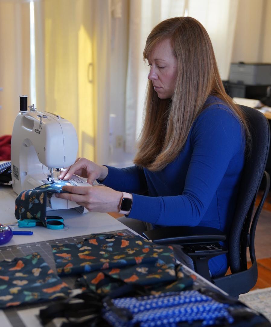 Jennifer Morrison sewing masks