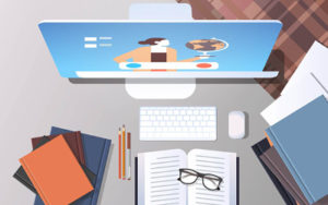 Illustration of a desk with computer, books, pencils and a pair of glasses