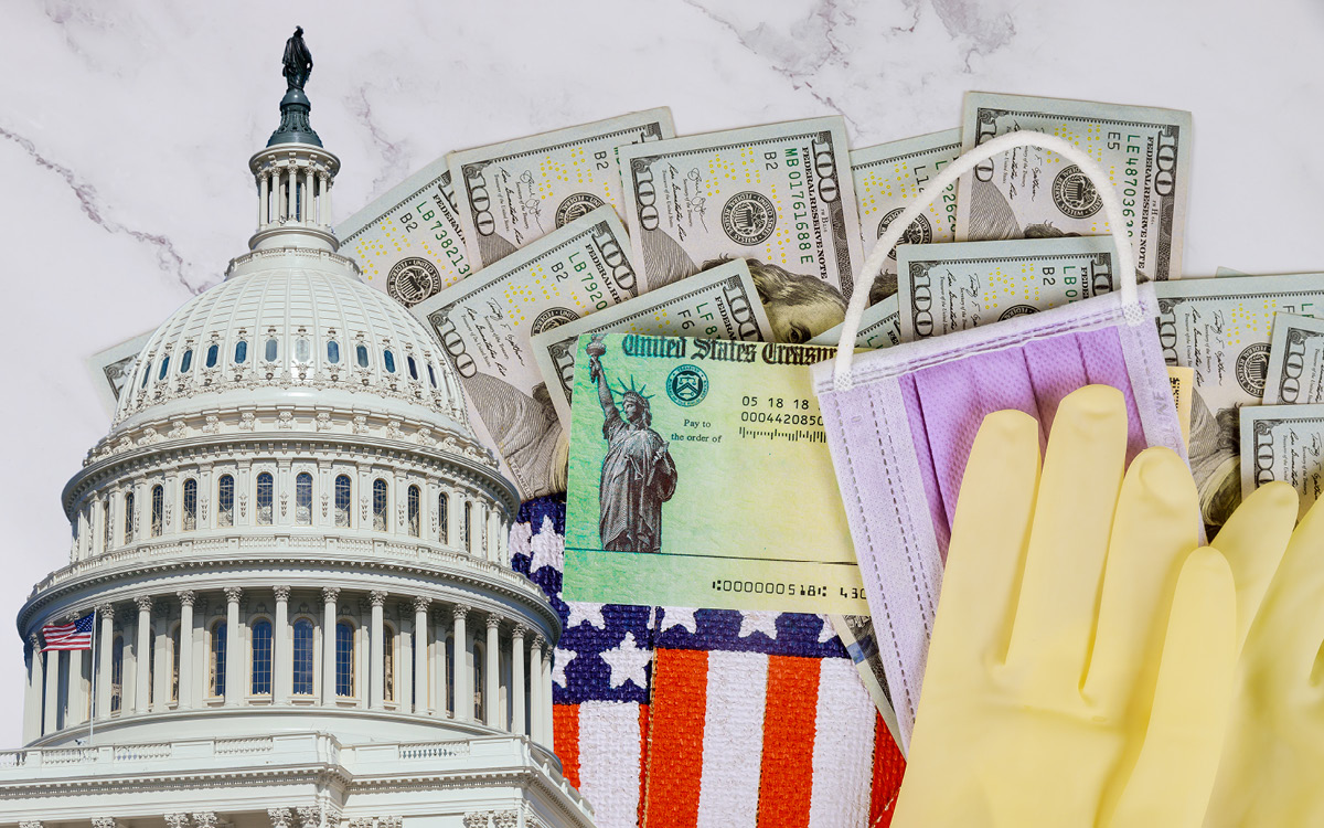 a collage of money, the capitol, face masks and gloves