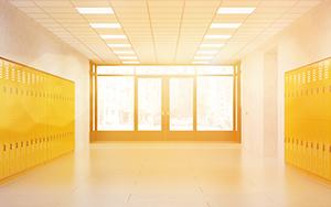Sunny school corridor with lockers