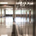 Empty school hallway of lockers