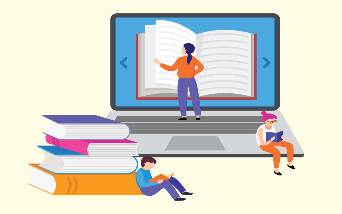 Kids learning online vector illustration