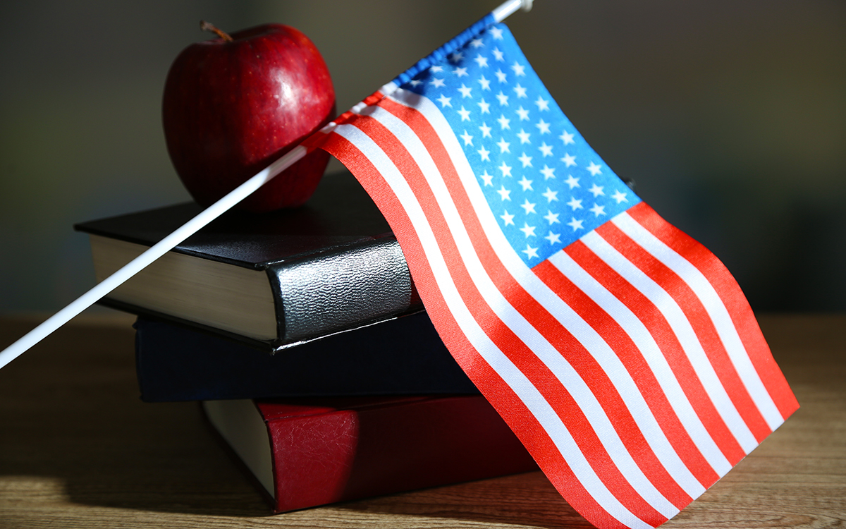 Composition of American flag, books and apple on wooden table, on dark background