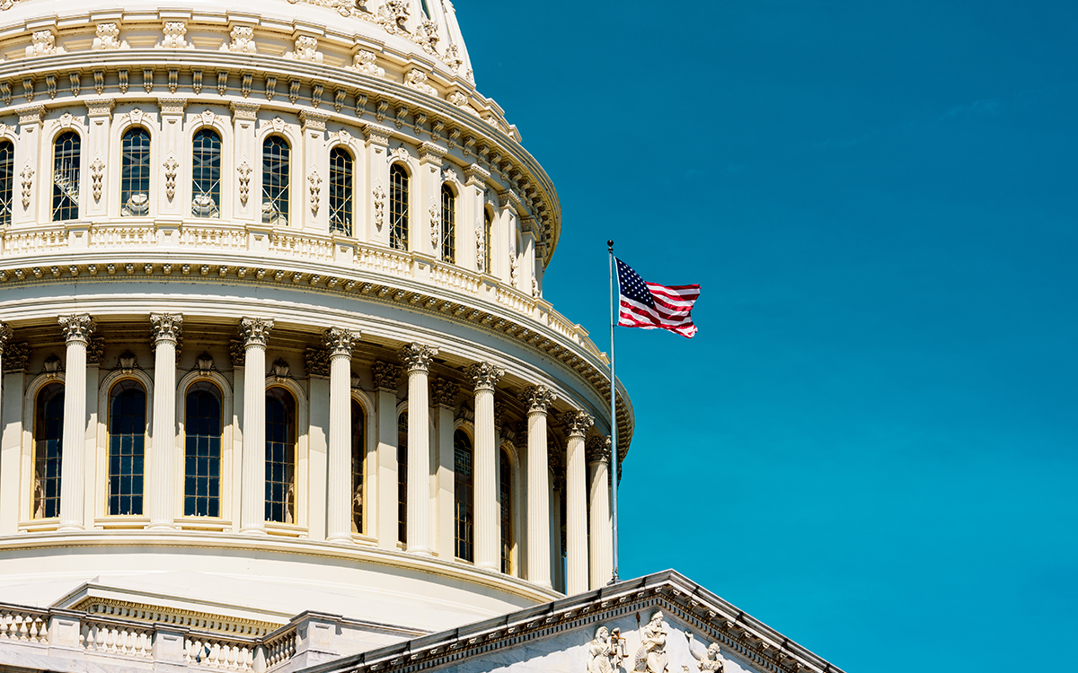 United States flags with Capitol building in Washington DC, retr