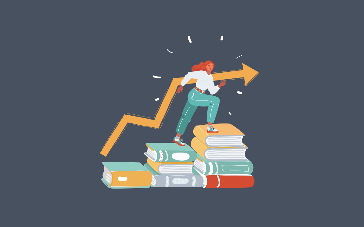 Illustration of Student sitting on stack of books
