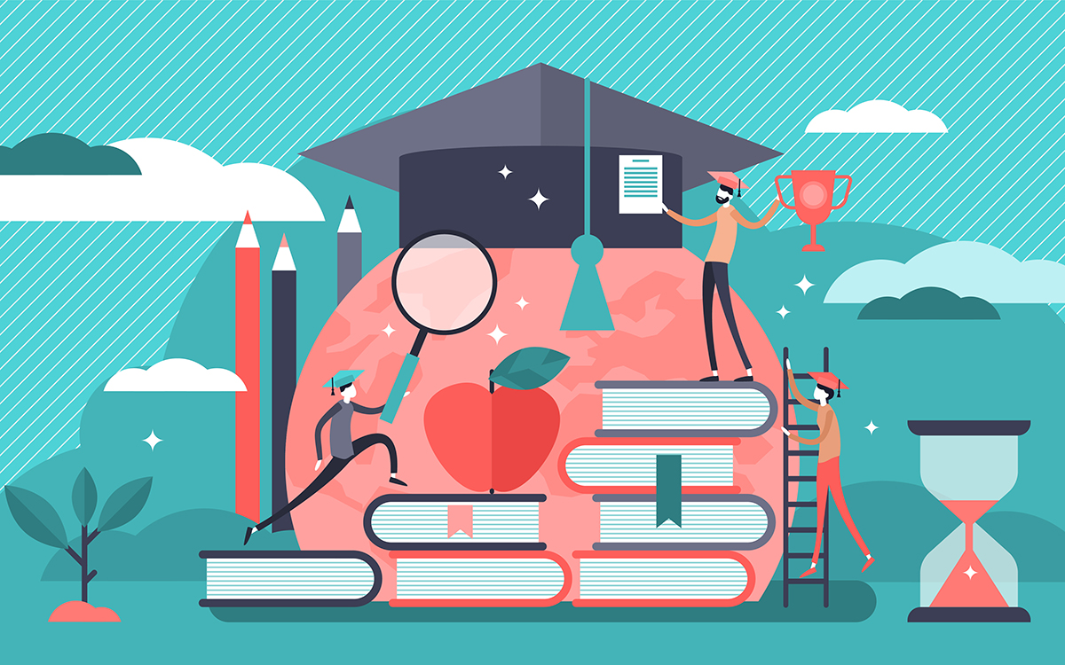 Illustration of education and awards concept