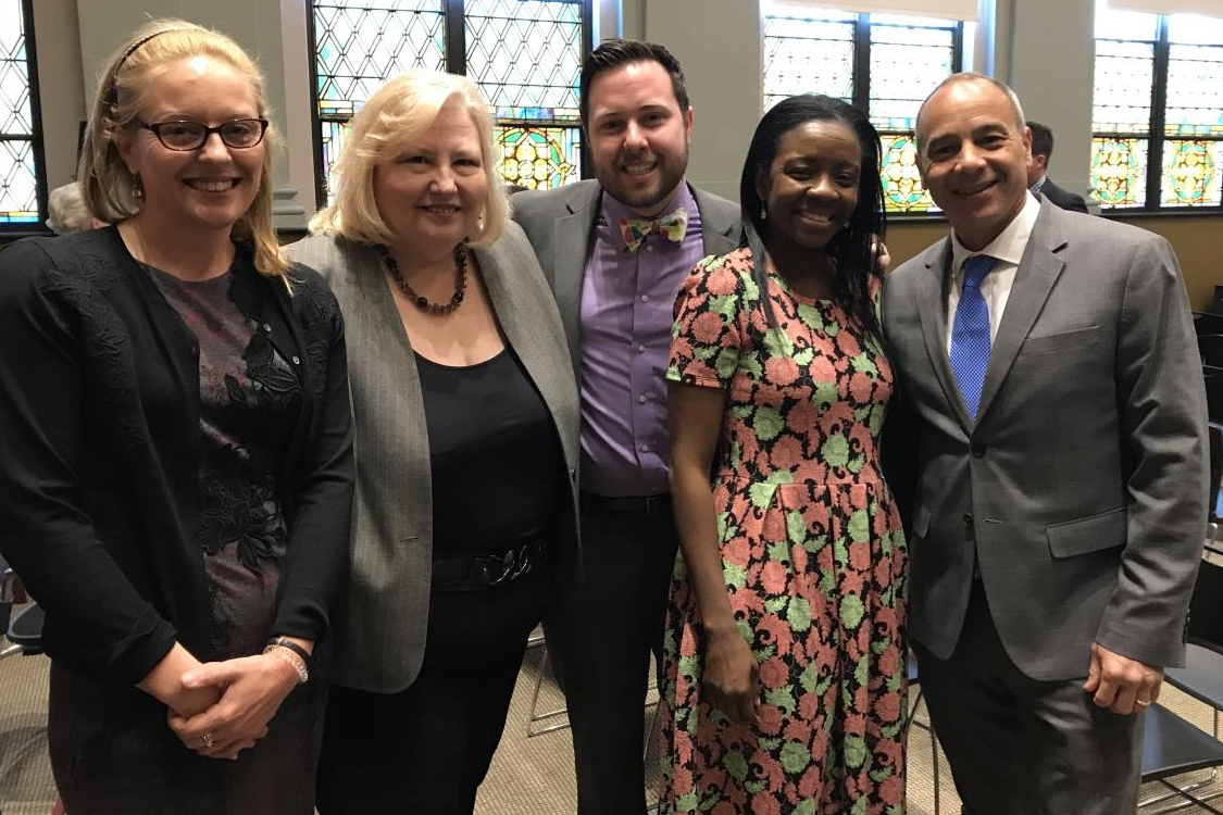 Barb Shaffer, second from left, with Admissions staff Liz Woodward, Andrew Goolsby, and Hysha Nesmith, and Dean Morphew in Fall 2017